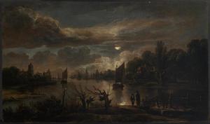 Riviergezicht met zeilboten bij maanlicht
