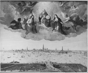 Antwerpen met een gedeelte van het Vlaamse Hoofd. Daarboven God met Christus en Maria als bemiddelaars