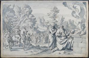 Elia's offerstier op de berg Karmel ontbrandt op zijn voorbede(1 Koningen 18:36-40)