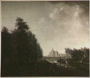 Utrecht, de bocht van de singel bij Lepelenburg en het begin van de Maliebaan met het huis Bellevue