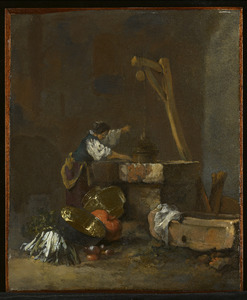 Vrouw die water put, bij groenten en vaatwerk