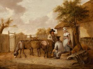 Drie figuren met ezels en een varken op een boerenerf