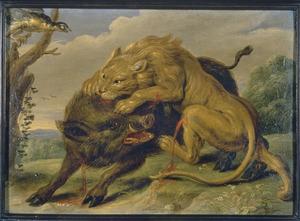 De fabel van de leeuw en het everzwijn (Aesopus)