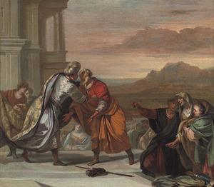 Jozef begroet zijn vader Jacob in Egypte bij Gosen (Genesis 46:29)