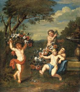 Dansende putti met bloemen in een landschap