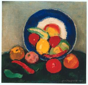 Stilleven met vruchten en blauwe schotel