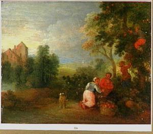Landschap met appelplukkers
