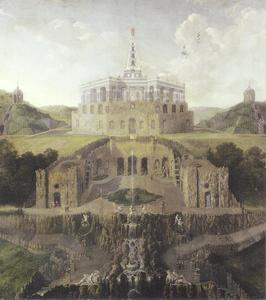 Zicht op op de residentie van Landgraf Karl van Kassel, van de watergrot tot het octagon