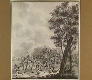 Gevecht tussen Franse en Hollandse troepen in ca. 1795
