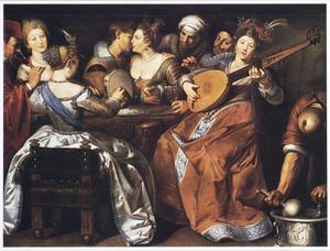 Musicerend gezelschap: allegorie op de vijf zintuigen