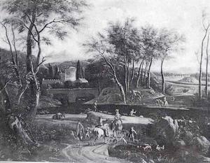 Italianiserend landschap met ruiters en honden op een pad naast een rivier