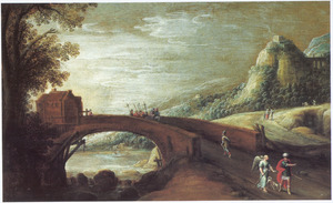 Bergachtig rvierlandschap met een stenen brug; op de voorgrond Tobias en de engel