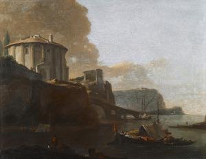 Zuidelijk landschap met de zogenaamde Vestatempel (Rome) en de Ponte Rotto in een gefantaseerde omgeving