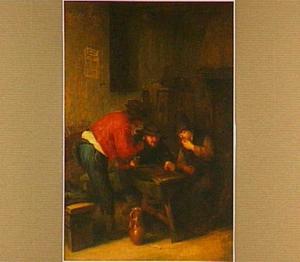 Herbergscène met drie triktrakspelende mannen