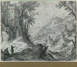 Berglandschap met met fortificaties