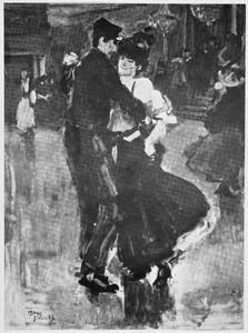 Danspaar in een Parijs café-chantant