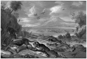 Otter, zeehond, pinguins, krokodillen en vissen op de oever bij een waterval