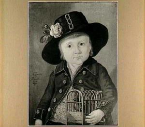 Portret van een kind met een vogelkooi