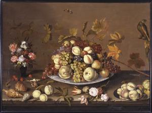 Stilleven met een schaal met vruchten; rondom een roemer met bloemen, schelpen, vruchten, bloemen, insekten en een papegaai