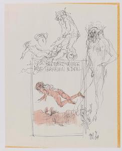 Ontwerp voorzijde eerste deel met zwevende figuur boven landschap