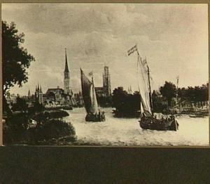 Gezicht vanaf het Zwartewater op Zwolle