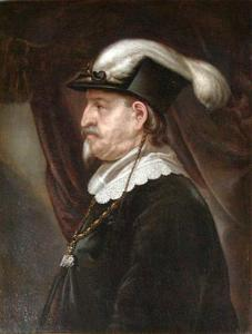Portret van koning Christiaan IV (1577-1648), en profil met gevederde hoed