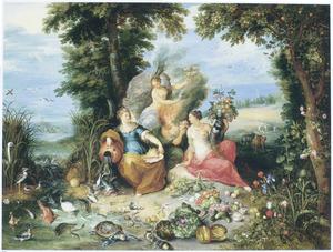 De vier elementen: vier allegorische vrouwenfiguren in een boslandschap met flora en fauna