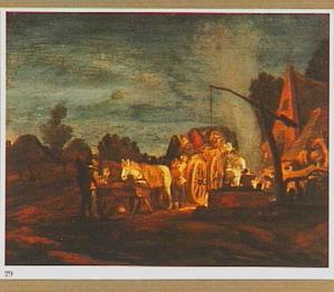 Rustende reizigers bij een herberg, bij nacht