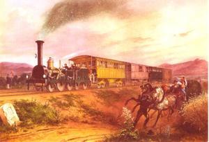 """Trein """"Wien"""" op het spoor naar het zuiden, laat in de avond"""