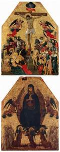 De kruisiging (recto), de hemelvaart van Maria met leden van een broederschap (verso)