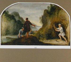 Landschap met schatgravers bij een grot