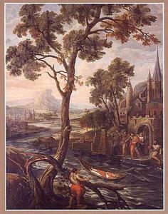 Het lijk van de H. Maternus van Keulen komt, tegen de stroom opdrijvend aan te Trier om begraven te worden