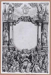 Titelpagina met figuren uit het Oude en Nieuwe testament en Concordia, Pietas en Caritas