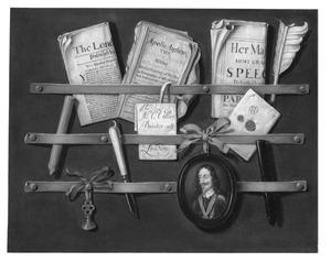 Trompe l'oeil met een portret Karel I Stuart (1600-1649), koning van Engeland