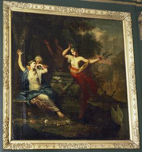 Vier vrouwen wenend bij het graf van Phaethon