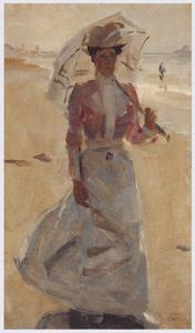 Flanerende dame op het Scheveningse strand