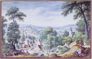Panoramalandschap met de dood van de ongehoorzame profeet (1Koningen 13:26-28)
