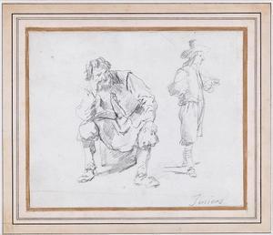 Studies van een zittende en van een staande man
