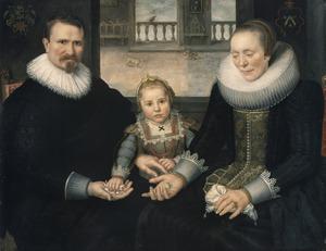 Portret van een man en een vrouw met hun dochter