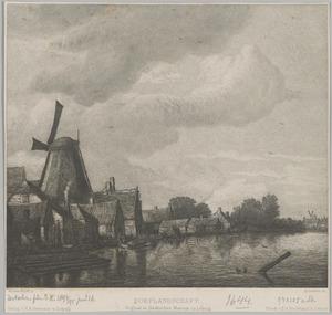 Rivierlandschap met huizen en een molen op de linker oever