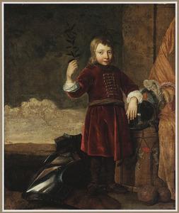 Portret van een jongen met militaria