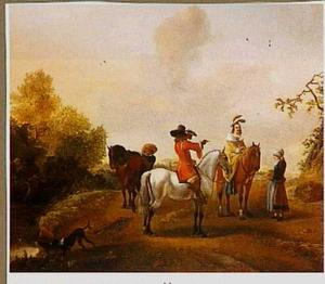 Landschap met elegant gezelschap te paard