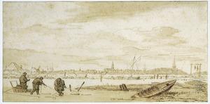 Winterlandschap met vissers, op de achtergrond een stad
