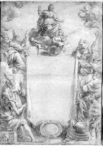 Tekening naar de titelpagina van de Generale Legende Der Heylighen