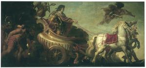 Koning Lodewijk XIII als overwinnaar in een triomfwagen