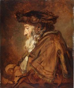 Zittende oude man met baret
