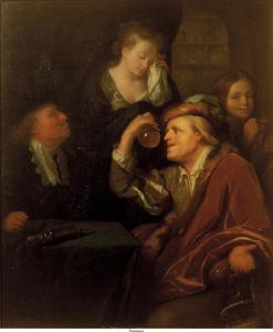 Interieur met een dokter die een fles urine bestudeert, met een huilende vrouw en een jongen