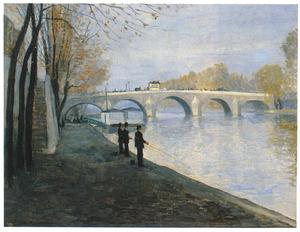 Vissers aan de kade van de Seine te Parijs