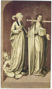 Legende van het leven van de H. Dymphna: de HH. Dymphna en Lucia (op de binnenzijde: de koning verneemt dat zijn dochter Dymphna is gevonden)