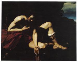 Narcissus wordt verliefd op zichzelf, zich spiegelend in het water
